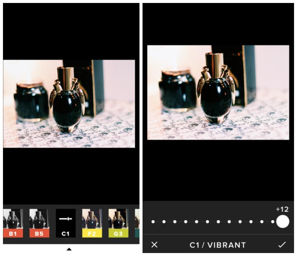 editando foto no VSCOcam