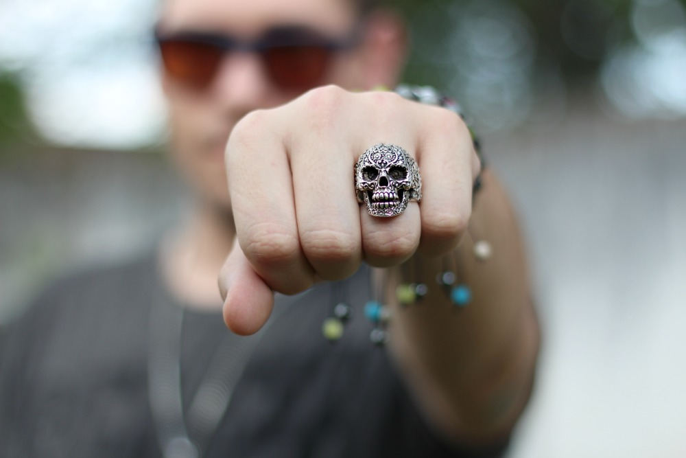 anel caveira mexicana