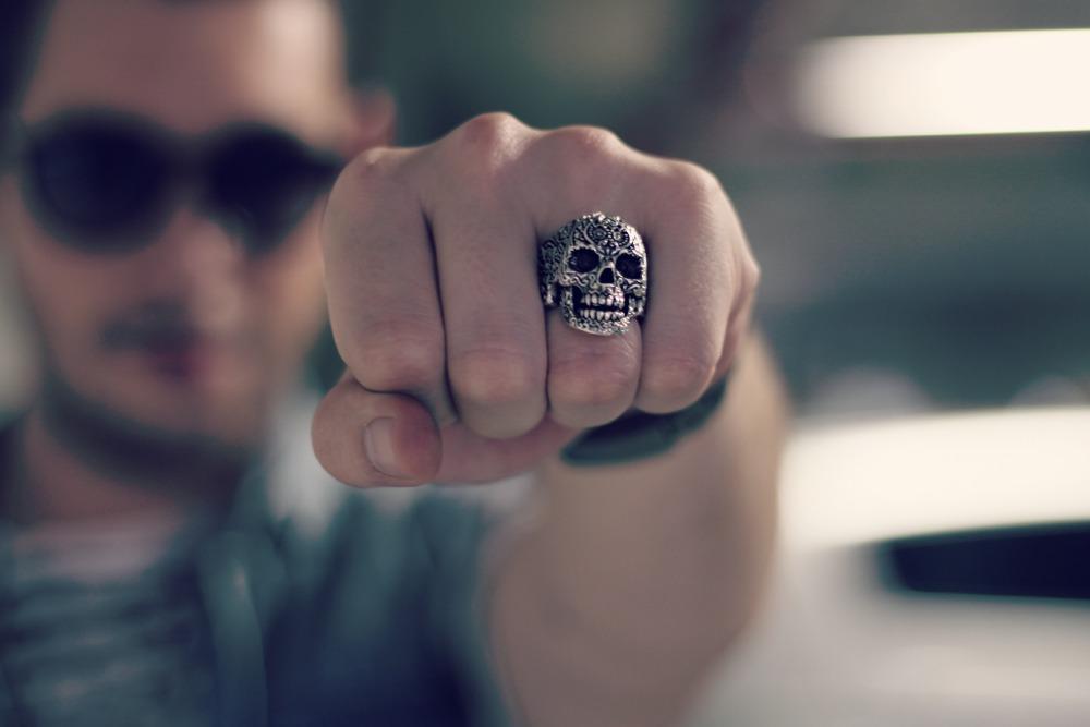 anel masculino caveira mexicana