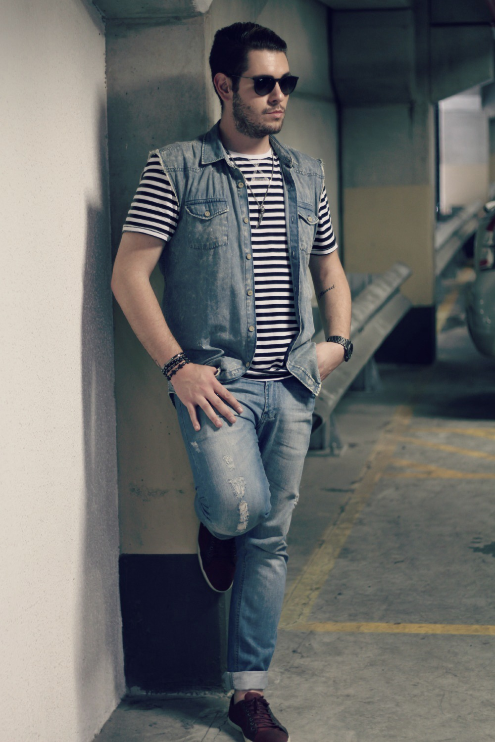 colete jeans masculino look