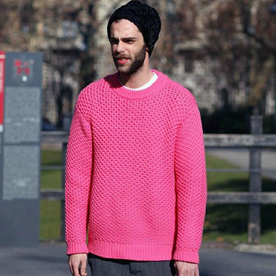 2014-original-design-pink-needle-vintage-loose-male-pullover-sweater